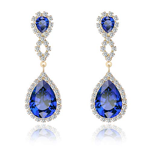 mens Drop Pierced Infinity Earrings Teardrop Dangle Rhinestone Crystal for Wedding Prom Party Silver Rose Gold Plated (Blue) ()