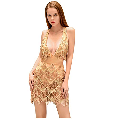 (L'VOW Women's Glitter Sexy Deep V Neck Sequin Beaded Halter Bodycon Mini Nightclub Party Dress (L(Gold)))