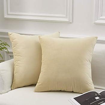 Jiuhong Velvet Throw Pillow Covers Farmhouse Decor Soild Square Cushion Case Home Decorative for Sofa Bedroom Car Yellow, 18 x 18 Inch 2 Pack