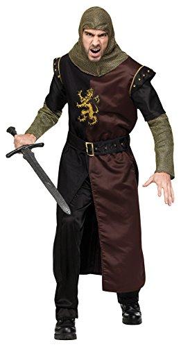 UHC Men's Valiant Medieval Knight Renaissance Theme Halloween Fancy Costume, Plus