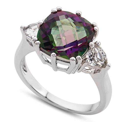 Finejewelers 10x10mm Antique Shaped Mystic Topaz and White Topaz Ring Sterling Silver Size 5