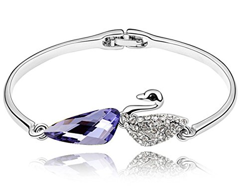 Price comparison product image The Starry Night Temperament Lady Makeup Lakeside Purple Swan Deluxe Silver Plated Bangle Bracelet