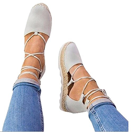 Sikye Womens Flat Lace-Up Sandals Summer Flock Straw Anker Strap Espadrilles Rome Sandal Holiday (US:9, ()