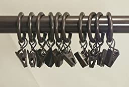 Urbanest Set of 40 1-inch Metal Curtain Rings with Clips and Eyelets, Fits Up To 3/4\