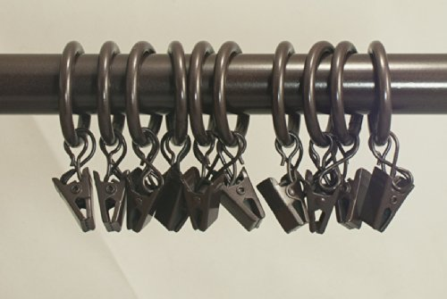 Urbanest Set Of 40 1 Inch Metal Curtain Rings With Clips