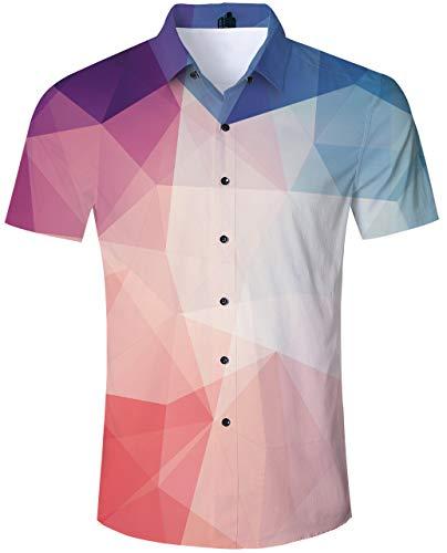 TUONROAD Men Casual Aloha Hawaiian Luau Shirt 3D Graphic Pattern Printed Button Down Shirt Tint Color Colorful Maroon Burgundy Purple Turquoise Geometry Short Sleeve Shirt Hawaiian Print Clothing ()