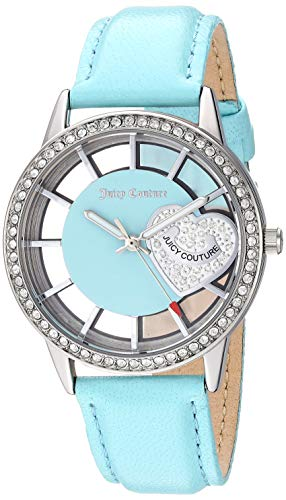 - Juicy Couture Black Label Women's Swarovski Crystal Accented Light Blue Leather Strap Watch