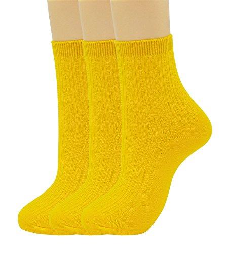 Womens Casual Bamboo Fiber Cotton Socks 3 pairs(3-pairs-yellow)