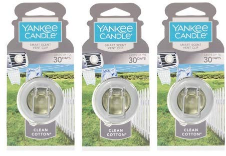 3 Pack Smart Scent Vent Clip Clean Cotton 0.5 Oz by Yankee Candle.