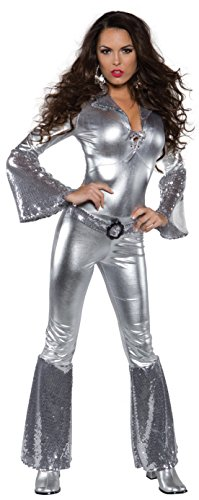 Underwraps Costumes Women's Silver Metallic Jumpsuit Costume - Foxy, Silver, Large