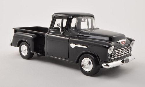 シボレー5100Stepside pick UP   Black   1955  Model Car   Ready - made   Motormax 1: 24の商品画像