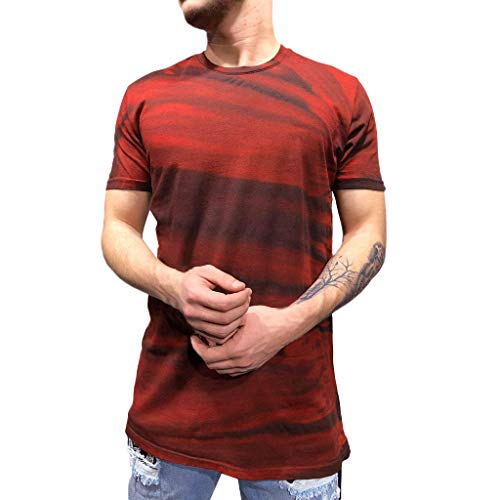 URIBAKE ⭐️ Men's Summer Short Sleeve T-Shirts Color Block Print Fitness Vest for Leisure Workout Red
