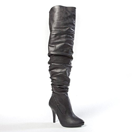 Sexy Black Boots (Forever Link Focus-33 Women's Fashion Stylish Pull On Over Knee High Sexy Boots,8.5 B(M) US,Black Pu)