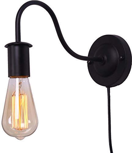 BRIGHTESS Retro Wall Sconces Light Wall Lamp Wall Mount Set of 2 Packs E26 Base Plug in Black Industrial Vintage Edison Wall Lamp Fixture Led Porch Light for Indoor Bathroom by BRIGHTESS (Image #3)