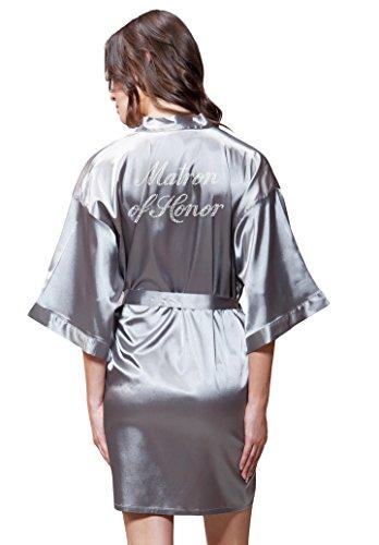 Turquaz Linen Satin Kimono Rhinestone Matron of Honor Robe (Small/Medium, Classic Gray)