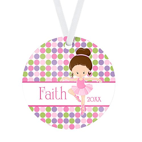 Ballet Ornament - Pink Dot Ballerina Personalized Name Christmas Ornament ()