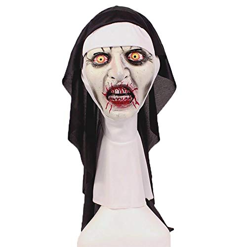 The Horror Nun Valak Mask with Headscarf Scary Full Head Halloween Cosplay Party Helmet Prop