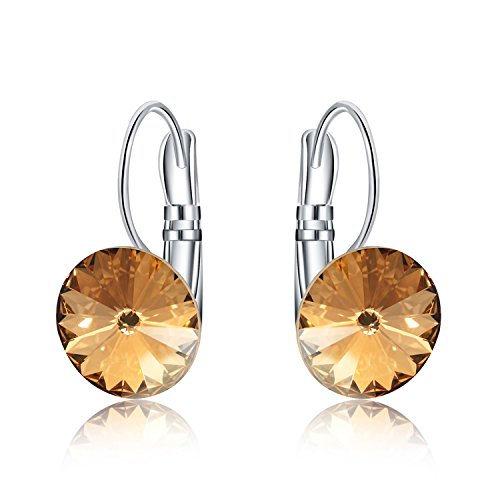 Womens 10mm Round Crystal Leverback Earrings Made with Swarovski Crystals Jewelry - Stores Fashion Mall At Show