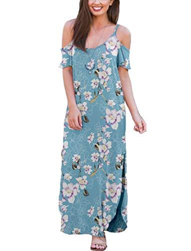 Sherosa Women's Strappy Cold Shoulder Slit Summer Dresses (XL, Pattern 1)