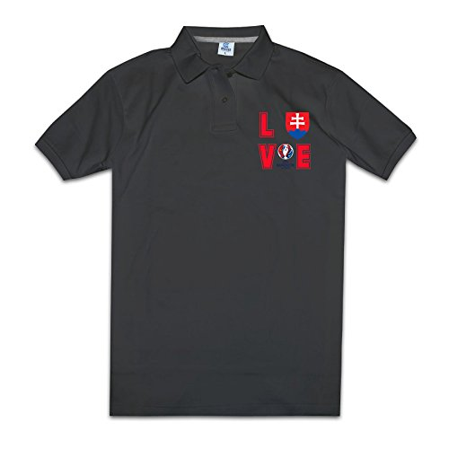 Mens Online Pre-cotton I LOVE Slovakia Football Polo T-shirt Size XL Color Black