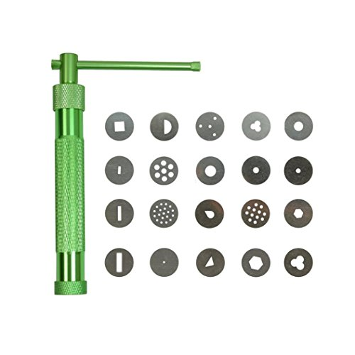 Iusun 20Pcs Sugar Paste Clay Fimo Extruder Craft Fondant Cake Sculpture Deko Tools (Green)