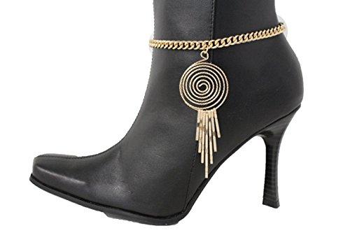 [TFJ Women Western Boot Chains Bling Bracelet Gold Metal Swirl Drop Fringes Charm Urban] (Pop Art Inspired Costumes)