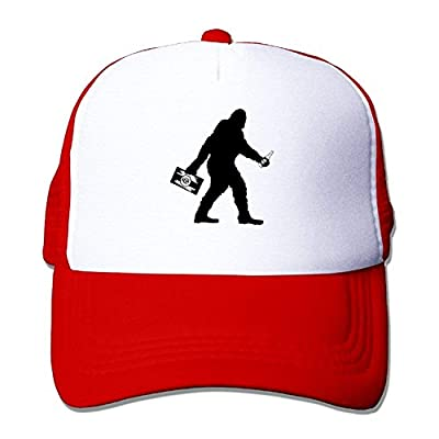 BHUIA Sasquatch Bigfoot with Beer Mesh Adjustable Cool Snapback Hat from BHUIA