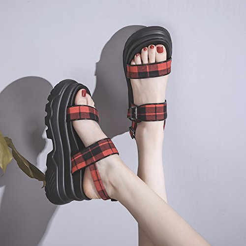 Sandales Nouvelle Chaussures Romantique Été Universelle rouge Forme Étudiant Plate Plate Vintage vin Chaussures Femelle QQWWEERRTT Sport Forme Mode qwfZ1fU