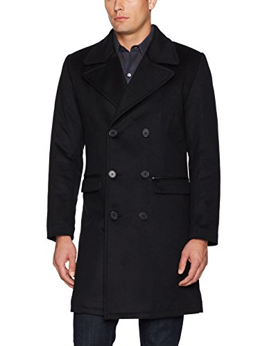 LAMARQUE Men's Langford Cashmere Blended Double Breasted Wool Jacket, Black X-Large - Double Cashmere Breasted