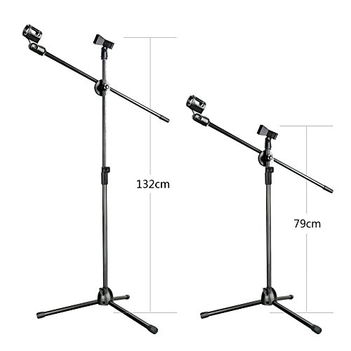 Aokeo Professional Studio Broadcasting / Recording AK-70 Condenser Microphone & AK-107 Folding Type Height Adjustable Microphone Tripod Boom Floor Stand Kit - Image 6