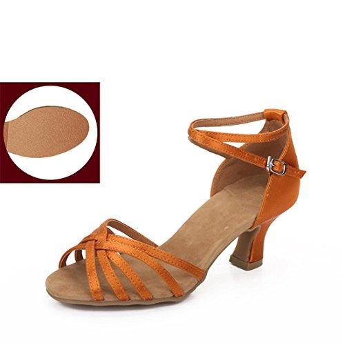 WXMDDN Latino scarpe da ballo arancione scarpe 5,5 cm outdoor scarpe da ballo soft jazz di fondo sociale Dance Dance Dance Scarpa,E34