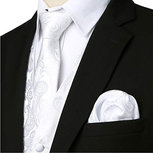 ZEROYAA Mens Classic 3pc Jacquard Paisley Vest Set Necktie Pocket Square Waistcoat for Suit or Tuxedo ZLSV08 White Large