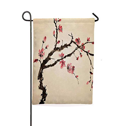 - iPrintsophierhome Garden Banner Outdoor Flag Flags,Paint of Figural Tree with Details Brushstroke,Holiday Decorations Outdoor Garden Decoration Digital Printing Flag