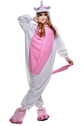 NEWCOSPLAY Unisex Adult Unicorn Pyjamas Halloween Costume (L, Pink Unicorn)