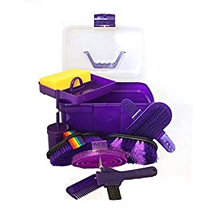 AJ Tack Wholesale Horse Grooming Box Set 9 Pieces Barn Stable Supply Brushes Comb Hoof Pick 3