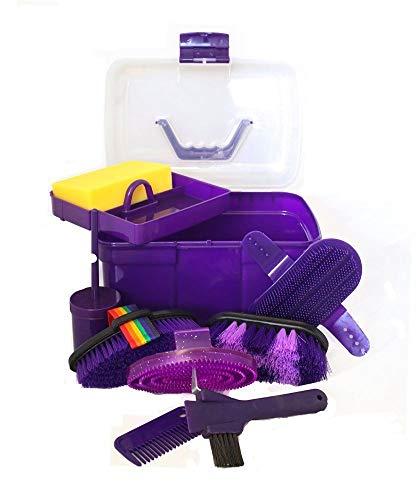 - AJ Tack Wholesale Horse Grooming Box 9 Piece Set Brushes Sweat Scraper Rubber Massage Curry Mane and Tail Comb Hoof Pick Sponge Clear Plastic Box Purple