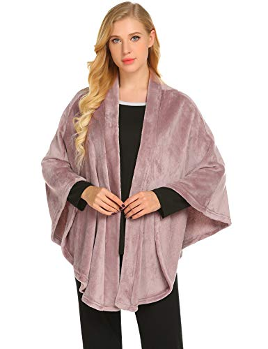 Ekouaer Loungewear for Women Cashmere Cuffed Shawl Fleece Poncho Thick Flannel Wraps Warm Tops Coat