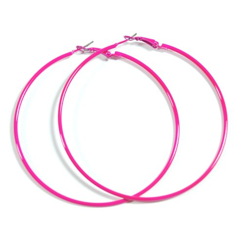 NEON HOT PINK Hoop Earrings 50mm Circle Size - Bright Flourescent, Vibrant Colors