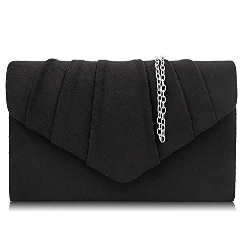 Milisente Women Evening Bag Velvet Pleated Clutch Purse Envelope Clutches (Black)