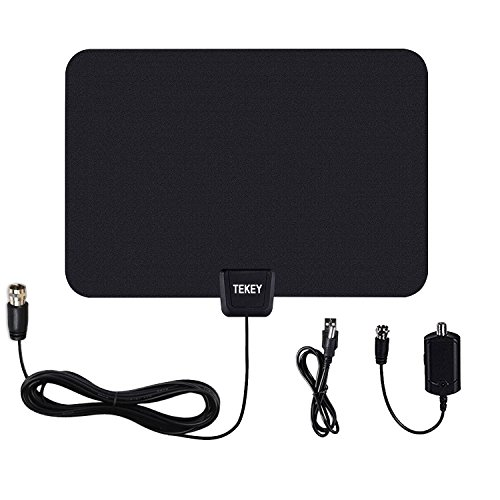 TEKEY Digital TV Antenna 50 Miles Range with Amplifier 10ft High Performance Coax Cable