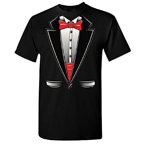 (Christmas Ugly Sweater Co Smokin Tuxedo with Bow Tie Men's T-Shirt Tux Costume Halloween Tee Black)