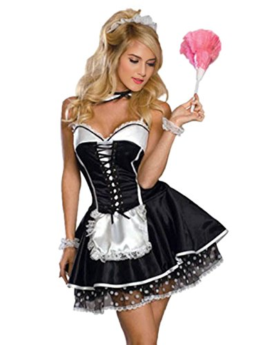 sexy Taffeta-like French Maid cosplay Dress with Polka Dot Lace Underskirt (French Maid Uniform Dress)