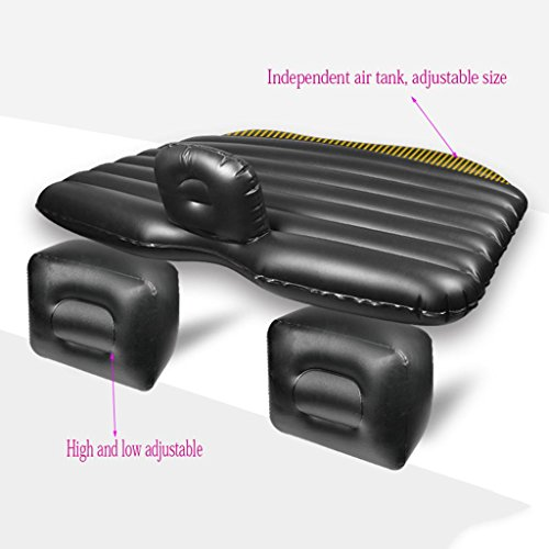 Air Bed for Car,Car Travel Inflatable Mattress SUV Back Seat Cushion with Motor Pump and Two Pillow Outdoor Camping Universal,13583cm,Leather Black/Split ()