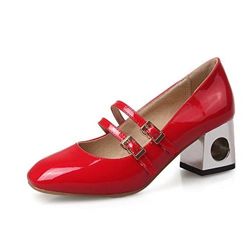 Amoonyfashion Womens Kitten Hakken Stevige Gesp Gesloten Vierkante Teen Pumps-schoenen Rood