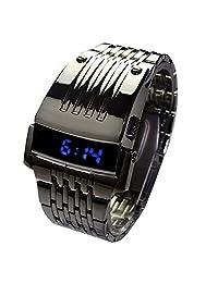 Iron Man Reloj Digital LED Acero Inoxidable Hombres Niños Deportes Militar Reloj de Pulsera LED, Negro