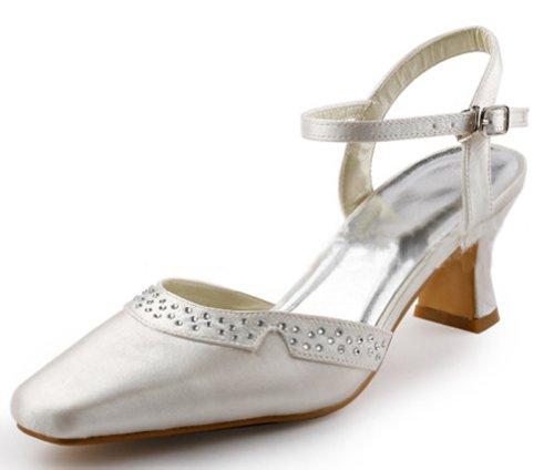 Low Satin Heel Pump Square Beige Women's Toe Bridal Honeystore wCqOTvRnt