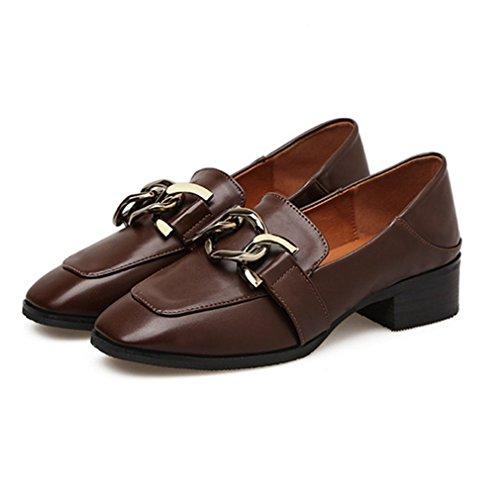 Giy Stuiver Instappers Voor Dames, Slip-on Gesp Klassieke Pumps Loafers Vierkante Neus Hak Jurk Oxford Schoenen Bruin
