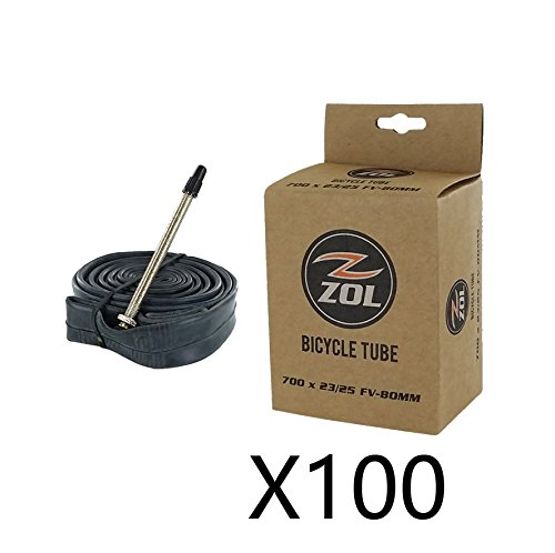 Zol Road Bicycle Bike Inner Tube 700 x 23/25C Long Presta/French Valve 80mm(Box 100 PCS)
