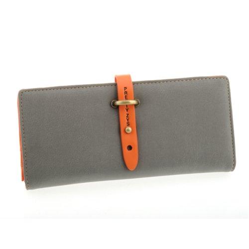 OFTEN® Lady Women Retro Long Purse Hit Color Clutch Wallet High Quality Bag (Grey)