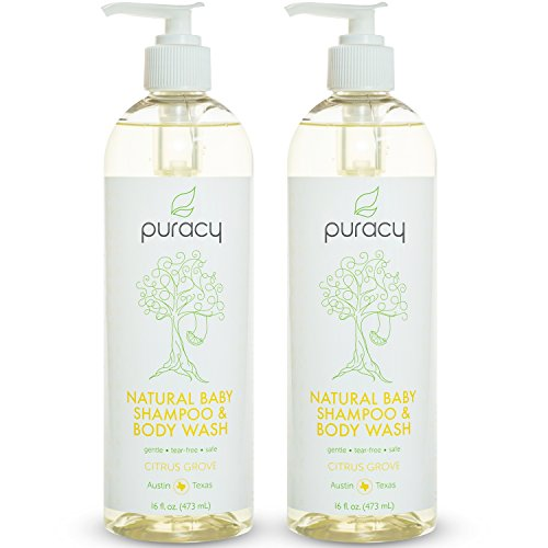 Puracy Natural Baby Shampoo & Body Wash, Tear-Free, Sulfate-Free Bubble Bath, Developed by Doctors, 16 Ounce Pump Bottle, (Pack of 2)